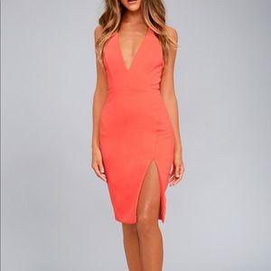 Lulus Aglow Neon Coral Bodycon Midi Dress